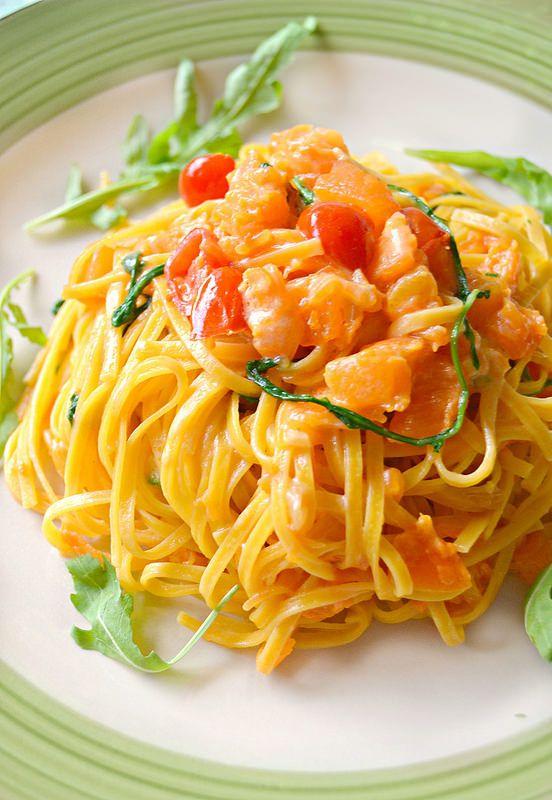 Dolci a go go: Linguine con crema di parmigiano, rucola e zucca