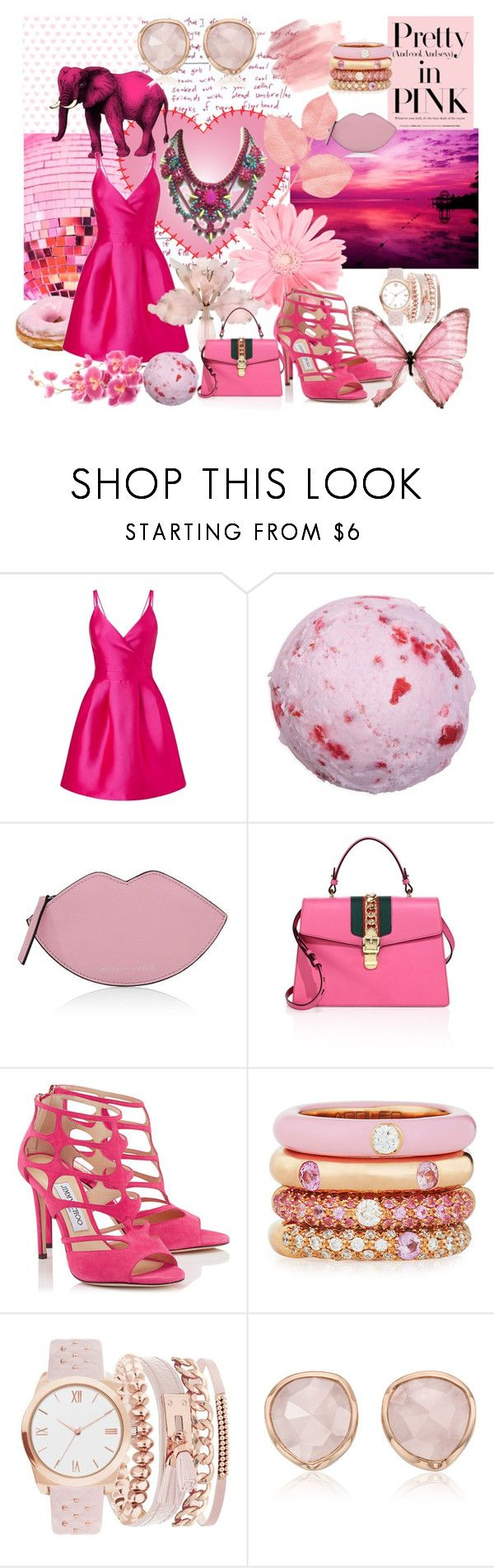 """pink!"" by mimmiandkinkistatementjewelry ❤ liked on Polyvore featuring Miss Selfridge, Kendall + Kylie, Gucci, Jimmy Choo, Adolfo Courrier, A.X.N.Y. and Monica Vinader"