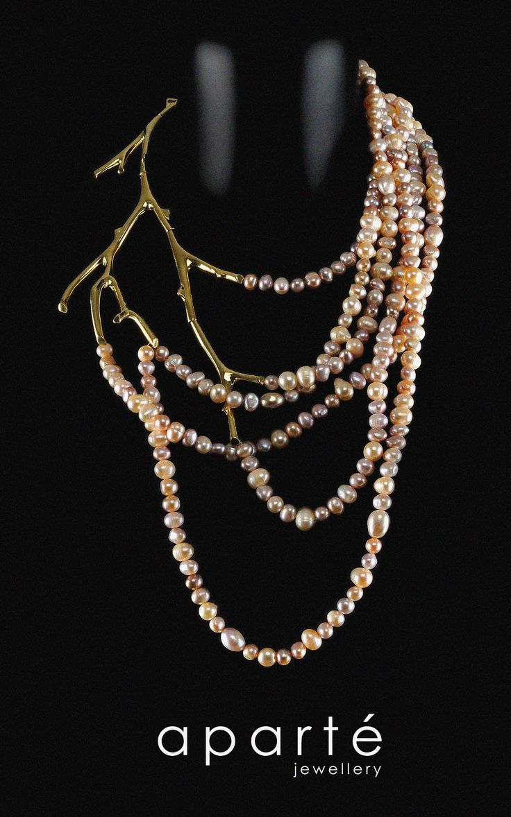 Aparte Jewellery's Gold Plated Silver Branch And Pink Pearls Necklace! Love!