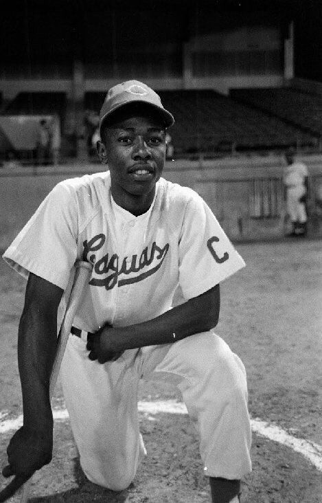 February 1954: 20 year old Hank Aaron with the Caguas of the Puerto Rican League.