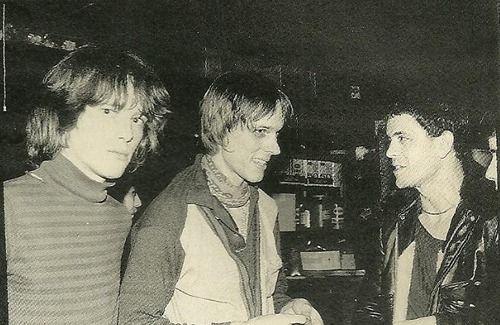 "Amazing shot!!: Richard Lloyd & Tom Verlaine (Television) with Lou Reed at ""CBGB"", New York City, (1975)!."