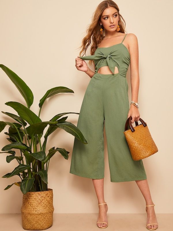 087bd6f322 Knotted Front Shirred Back Solid Cami Jumpsuit | SHEIN | Outfits in ...