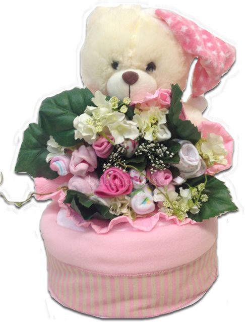 Diaper cake and baby bouquet in one