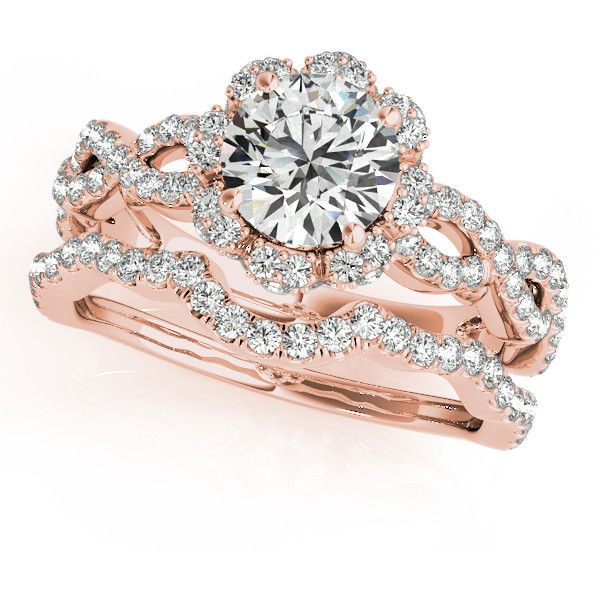 Engagement Ring -Infinity Crown Diamond Vintage Bridal Set in Rose... ($2,820) ❤ liked on Polyvore featuring jewelry, rings, vintage diamond ring, diamond band ring, wedding rings, rose gold wedding rings and vintage engagement rings
