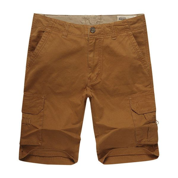 Summer Casual Solid Color Loose Fit Outdoor Cargo Shorts For Men