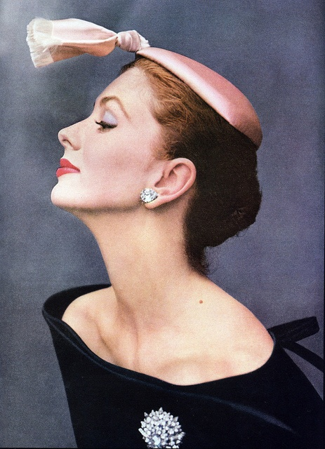 "Suzy Parker wearing cocktail hat of silk satin by Balenciaga photographed by John Rawlings for ""Vogue"" October 1953. via skorver1 on flickr"
