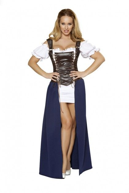 4PC Seductive Serving Wench Costume Includes off-the-shoulder top, mini underskirt, long overskirt, and fully boned corset with lace-up detail and straps. Poly/Spandex.