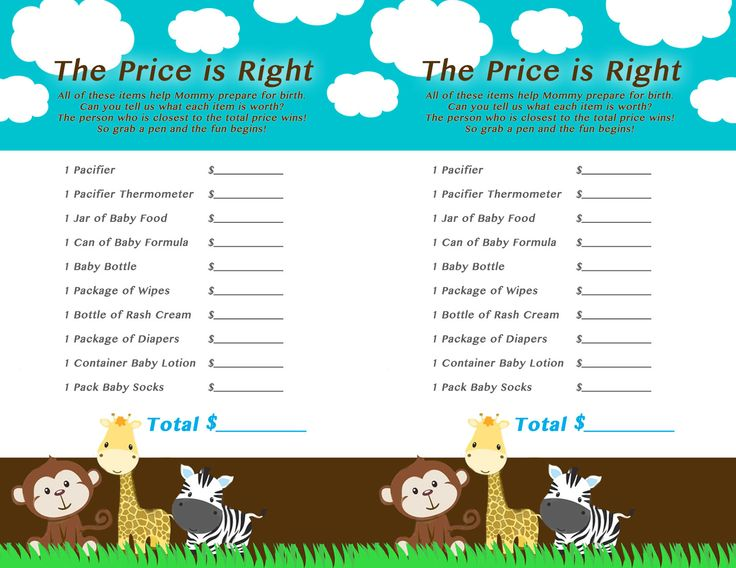 Jungle Themed Baby Shower Game The Price Is Right. For Jewelu0027s Baby Shower