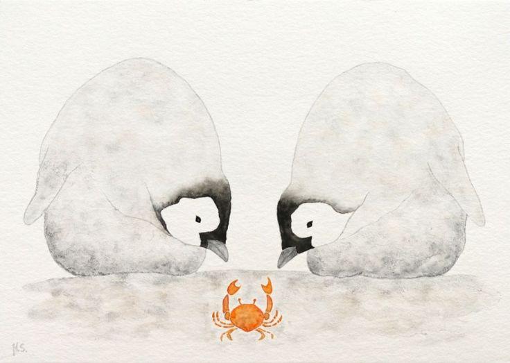 Two emperor penguin chicks with a crab - Watercolor by Malgorzata Stepniak