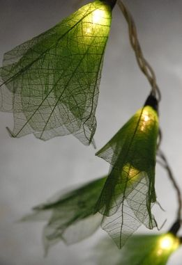 Over the bed for extra nightlight so we don't have to leave closet light on?!?! Green Flower Leaf String Lights 20 lights 8 Feet