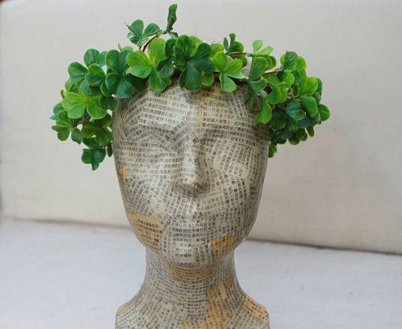 Lucky Green Shamrock Headpiece St. Patricks by BloomDesignStudio