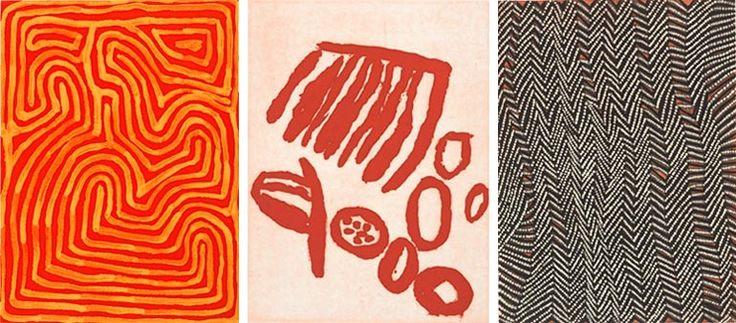 Papunya Tula - works on paper via AGNSW.  The artists of Papunya Tula, who revolutionised Australian art, are renowned for their paintings on board and canvas. They have also produced a small number of works on paper over the past 40 years, which are highlighted in this exhibition.