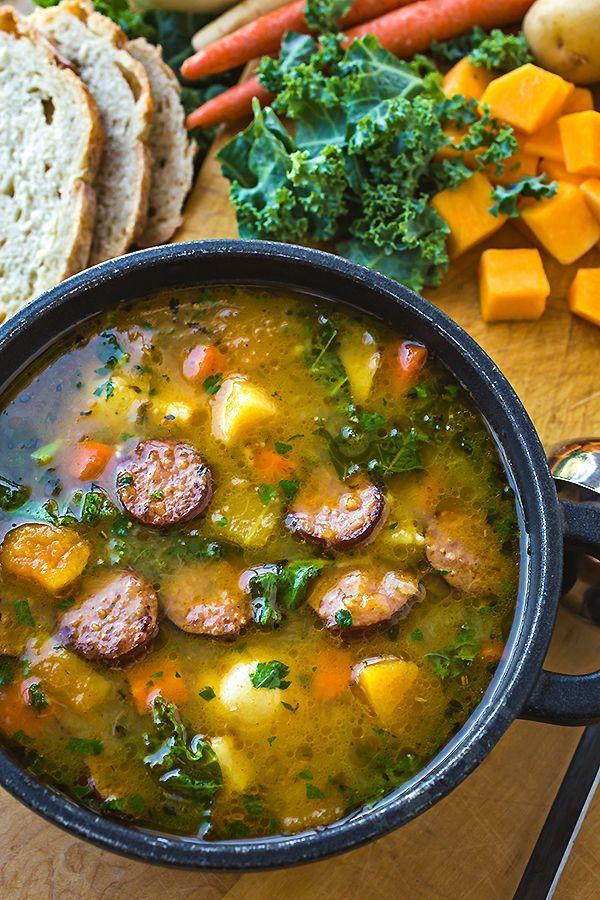 Harvest Stew with Smoked Sausage   http://thecozyapron.com
