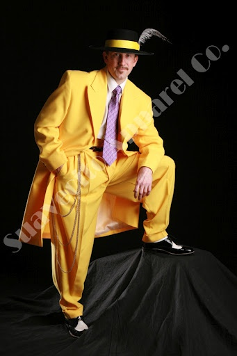 Zoot suit costume.  20's-40's jazz era subculture.  Also a style icon in Latino and African American cultures of that era.