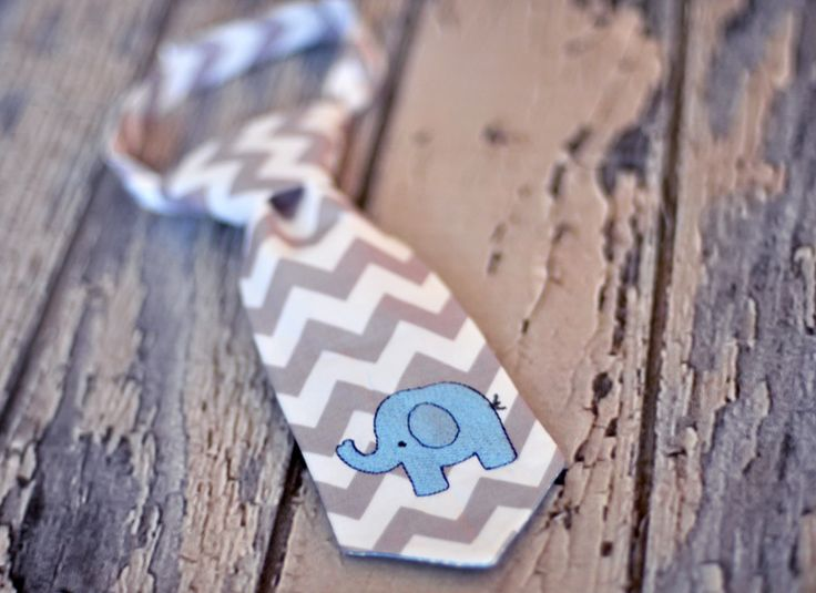 Little Guy Tie - Little Elephant - Infant through 8 years - Pre-Tied with Adjustable Velcro Closure - Gray White Chevron with Blue Navy - Elephant Birthday Cake Smash