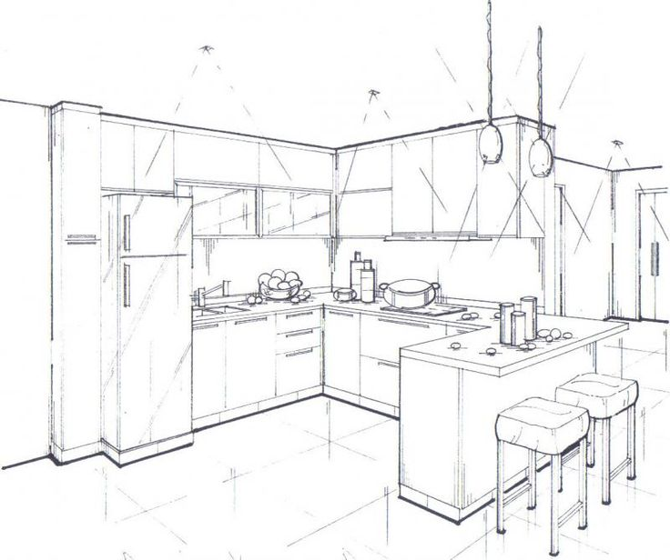 Interior design 04 perspective drawings sketching for Simple drawing room interior design