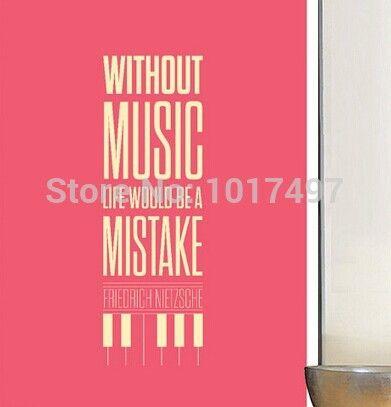 Фридрих ницше цитата - без музыки, Жизнь был бы ошибка - музыка цитата стены пропуск наклейку бесплатная доставка m2046