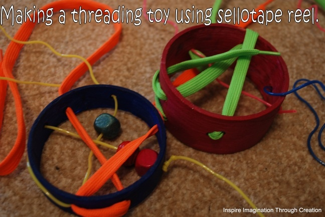 Inspire imagination through creation: Making your own toy for threading: Crafty Stuff, Tape Reel, Inspiration Imagination, Fine Motors, Kids Activities, Diy Toys, Thread Toys, Sellotap Reel, Creations
