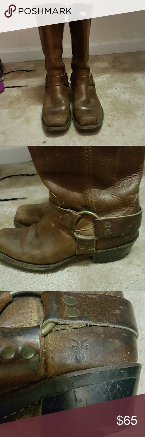 Frye harness boots Frye harness boots. Well loved. I cant fit my calf in them anymore or they would be staying with me!  Scuffs on heel. Leather needs a good conditioning. Frye Shoes Combat & Moto Boots
