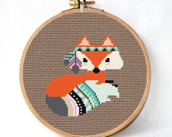 Little fox Cross Stitch Pattern PDF animal by TimeForStitch