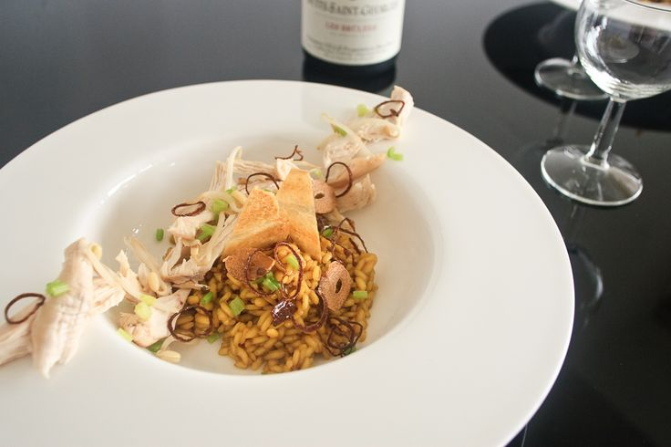 """""""Soto Ayam"""" Risotto, Poached Chicken & Toasted Spices #indonesianfood #appetizer #chicken #fusion #recipe"""