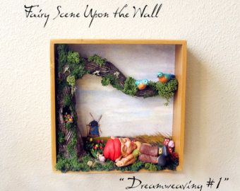 Fairy Scene Upon the Wall - Dreamweaving #1 - Handcrafted Sleeping Elf Figurine with Bluebirds, Elm Tree, Tulips, Mushrooms & Bamboo Frame