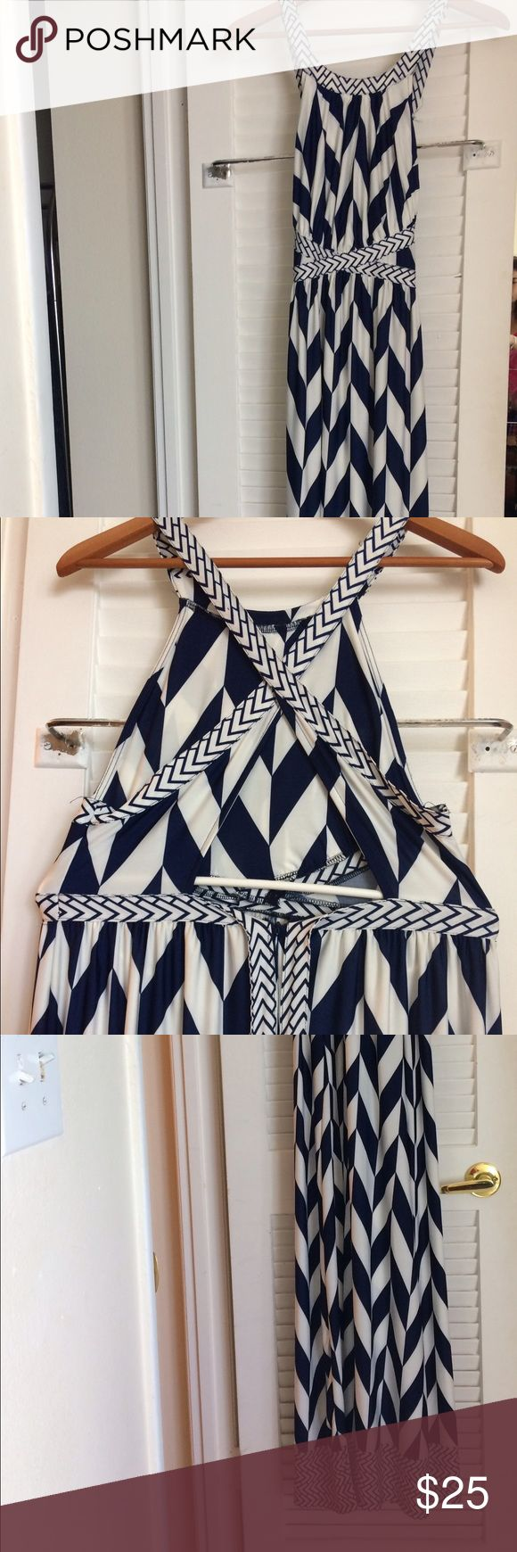 Long dress Blue and white patterns maxi dress. Worn only once. It has a beautiful open back Dresses Maxi