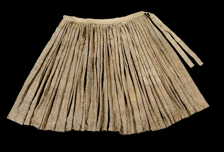 "Gold brocaded skirt from the tomb of Lady Sin from Pyeongsan in Mungyeong. Important Folklore Cultural Heritage 254, excavated 2004, 16th century.  ""Lady Sin's tomb and relics are also highly valuable as they offer clues to a unique tradition in her clan where the daughters' sons, instead of offspring from the male lineage, have performed ancestral rites over the past four centuries."" More info: http://oldroad.gbmg.go.kr/open.content/ko/introduce/1f.exhibition/excavation/?i=25549"