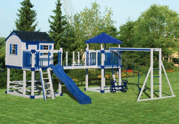 playhouse swing set plans | Swingset C-5 Castle | Vinyl children's outdoor playset (swing set ...