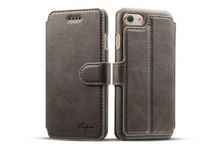 best Fashion iphone 7 Cases leather wallet gray