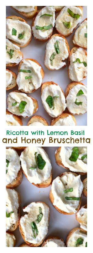 Fresh and light, this Ricotta with Lemon, Basil, and Honey Bruschetta is perfect springtime appetizer! #Easter #Springtime #Entertaining #MothersDay