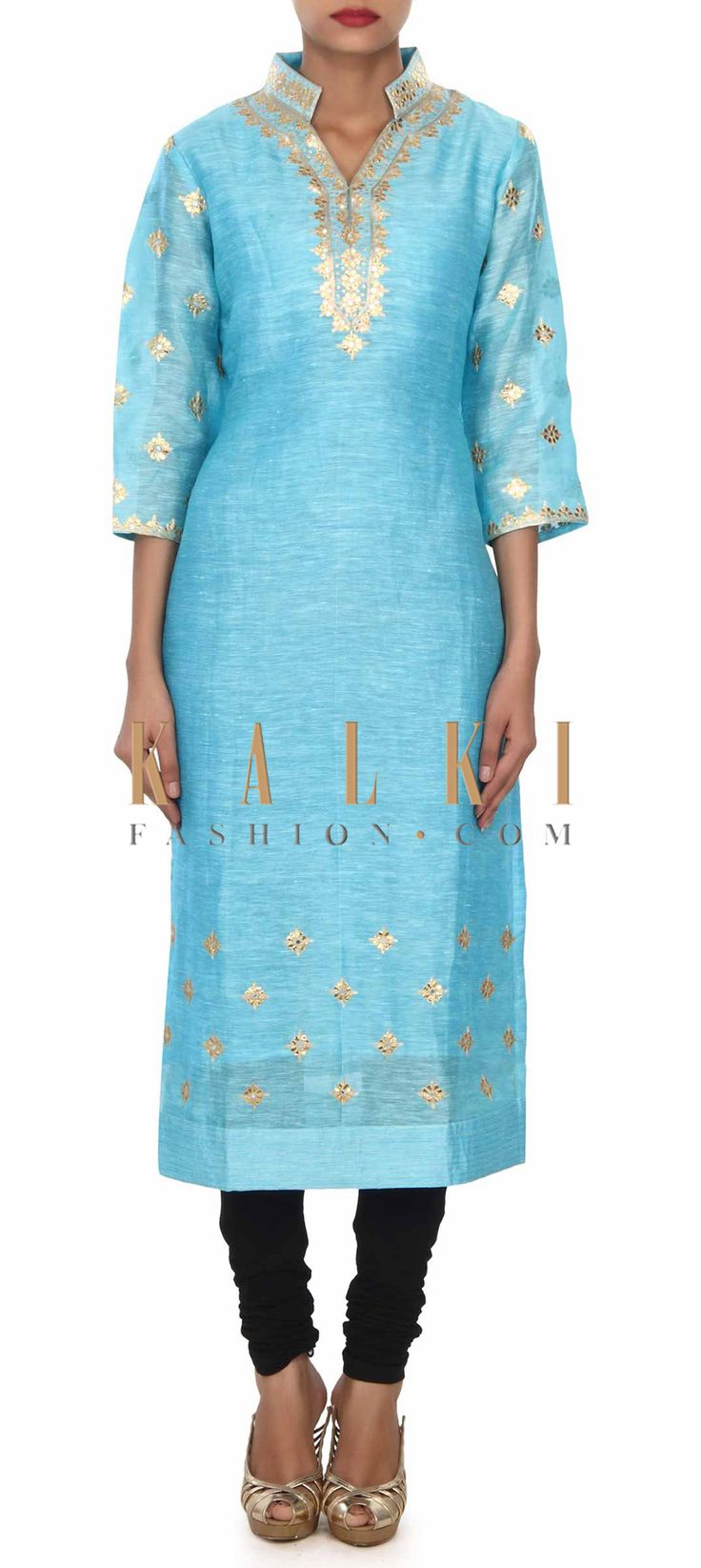 Buy this Sky blue kurti adorn in gotta patch work and zari embroidery only on Kalki
