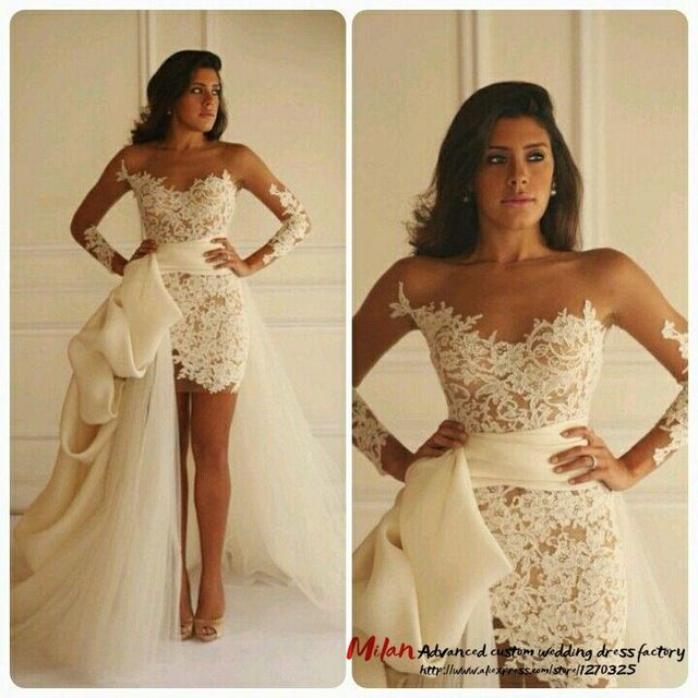 Ivory Appliques Lace Long Sleeves High Low Wedding Dresses Short Bridal Dresses With Ribbon Tulle Train Detachable Wedding Gowns