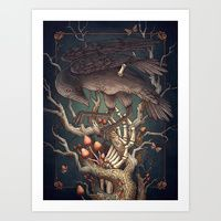 Art Print featuring Three Eyed Crow by Kate O'Hara Illustration