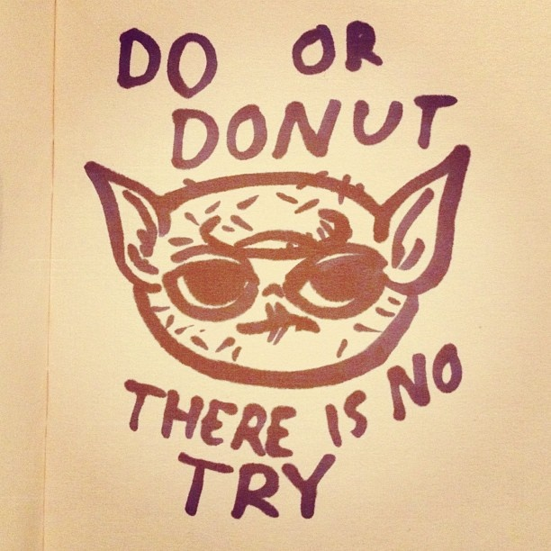 Yonut. #tinyvoodoo #sketch #sketchbook #comics #drawmore #comic #draweveryday #draw #drawing #iliketodraw #illustration #illustrator #doodle #doodling #sarjakuva #yoda #starwars #donuts
