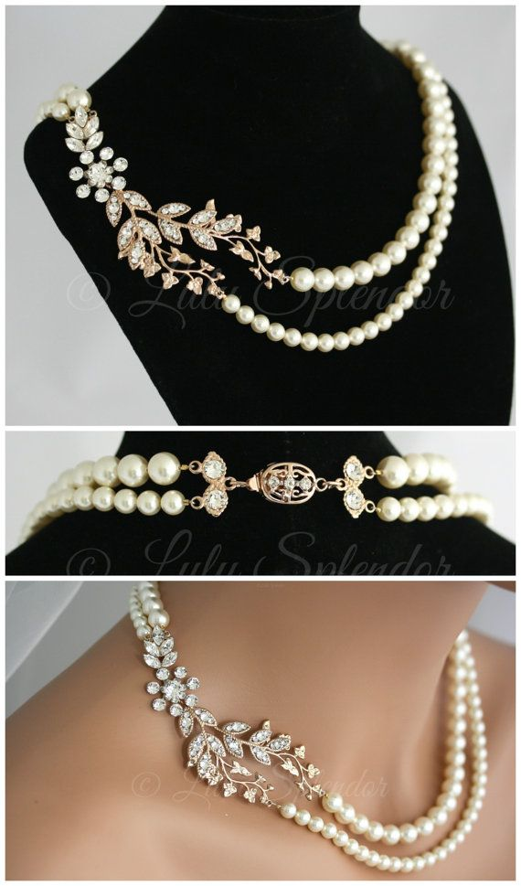 Bridal Necklace Rose Gold Leaf Wedding Necklace Art Deco Crystal Pearl Wedding Jewelry Double Strand Pearl Necklace NEVE