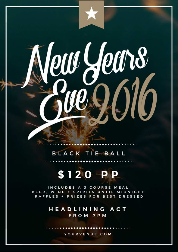 Use this New Years Eve promotional template for your event this year! Use this existing template or customise it as much as you like. Visit easil.com to get started!
