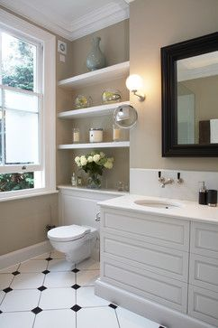 Color is Farrow and Ball Stony Ground.  Love the use of shelving and the vanity.  small bathroom done beautifully.