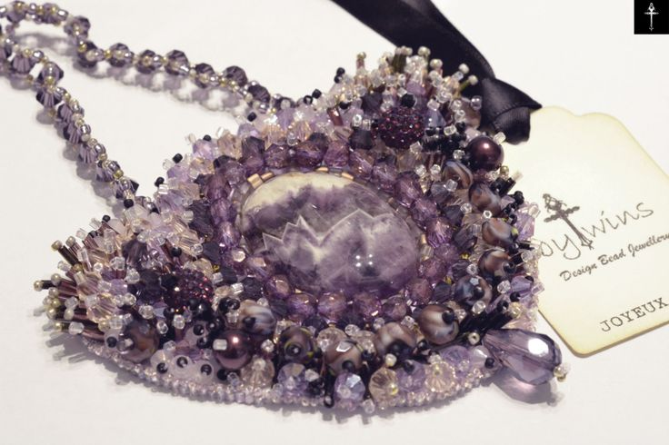 Handmade Beadwork Necklace with Amethyst Cabochon stone by BYTWINS