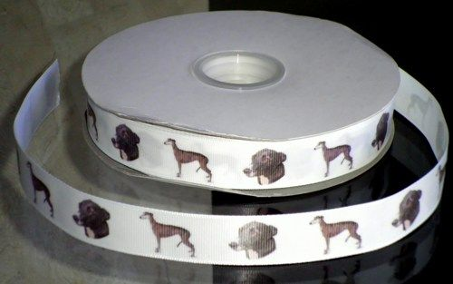 "This listing is for 2 continuous yards of 7/8"" wide white double faced satin/grosgrain ribbon (your choose, just memo which type you'd prefer when checking out)  with Greyhound dogs printed on it.  Th"