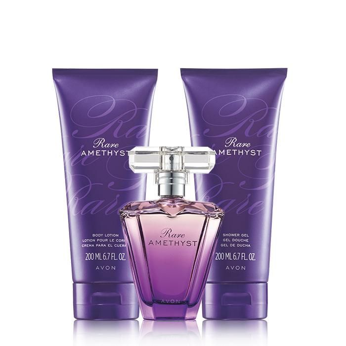A sensual blend of ripe plum, mysterious violet and rich sandalwood.A $43 value, this trio includes:• Rare Amethyst Shower Gel – 6.7 fl. oz. $10 value• Rare Amethyst Body Lotion – 6.7 fl. oz. $10 value• Rare Amethyst Eau de Parfum Spray – 1.7 fl. oz. $23 value only $17.00