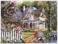 Victorian Cottage Plaid Paint by Number