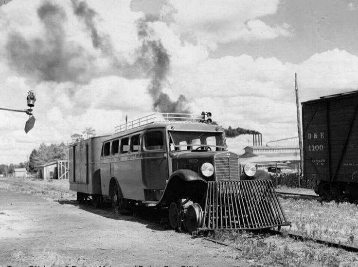 DeQueen and Eastern Railroad, International Track Bus #7 at the Depot in Dierks, Arkansas ca. 1948.