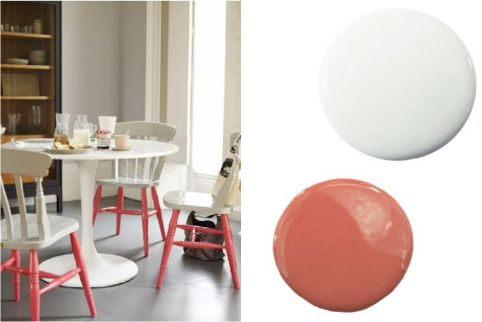 Pink and White Color Dipped Chairs: Chairs Paintings, Chairs Orange, Girls Spaces, Colors Dips, Colors Combinations, Color Combinations, Accent Colors, White Colors, Dips Chairs