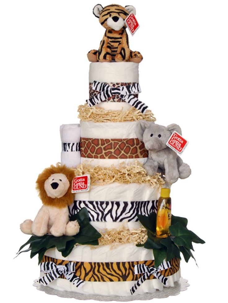 <p>ROOARRR! Three ferocious jungle animals top this adorable diaper cake – a wildly creative way to welcome any little one to this world (while also helping out the parents)! Our Welcome to the Jungle Diaper Cake is a unique baby cake filled with 70 Pampers Swaddlers brand diapers, plus several baby care essentials, including two soft cotton washcloths, Johnson