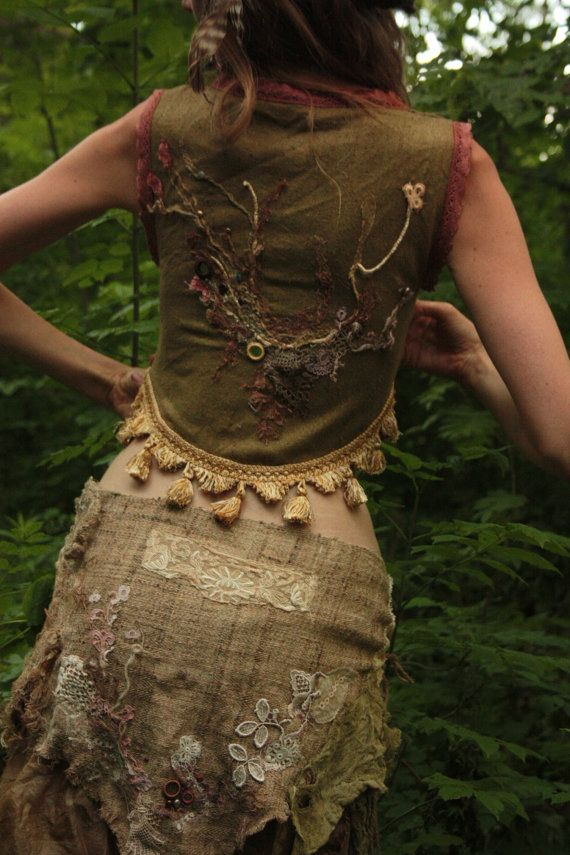 Fae of the Forests vest whimiscal organic and wild festival buring man wear