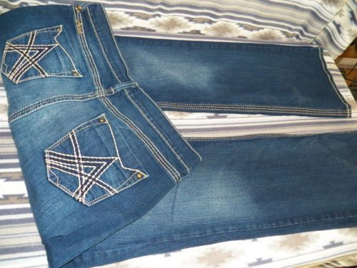 ARIAT Stitched Pockets Flare BLUE Western JEANS Denim WOMEN'S Size ...