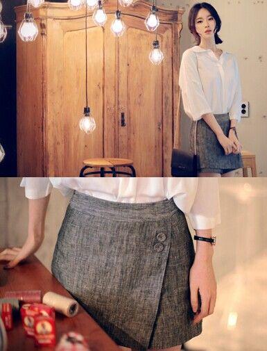 Льняные шорты-юбка