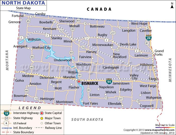 State Map of North Dakota | ROAD MAPS OF THE UNITED STATES ...