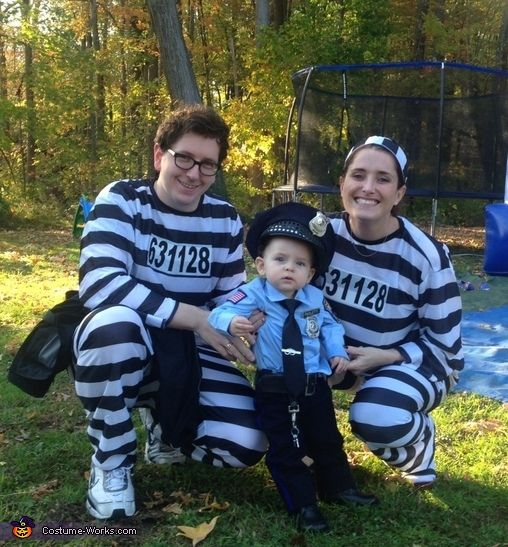 My First Arrest: Police Officer & Prisoners Family Halloween Costume Idea